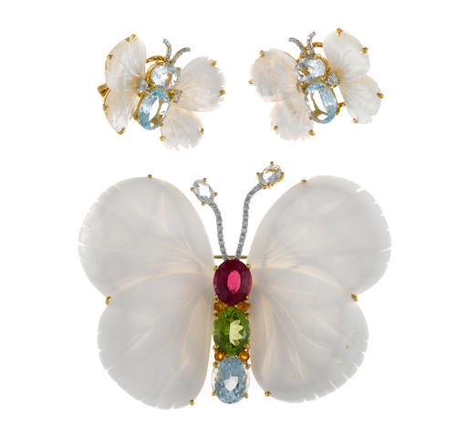 A mother-of-pearl, gem-set and diamond butterfly brooch together with matching earrings