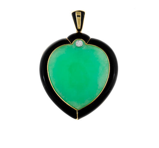 A jadeite jade, black onyx and diamond stylized heart pendant