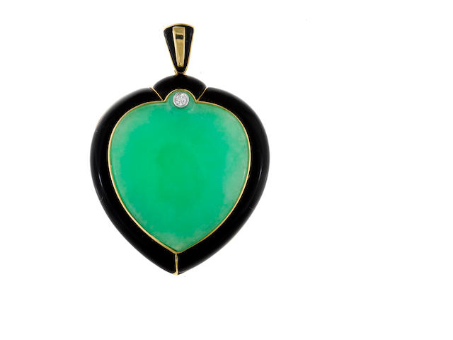 A jadeite jade, black onyx and diamond stylized heart pendant