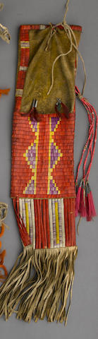 A Sioux quilled tobacco bag
