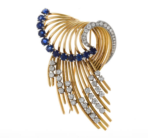 A retro sapphire and diamond brooch,