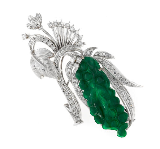 A jadeite jade and diamond brooch