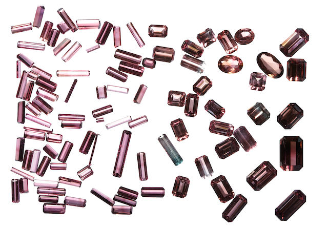 Group of Pink Tourmalines and Bi-color Pink Tourmalines
