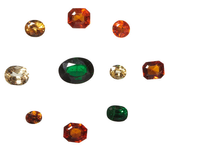 Two Tsavorite Garnets and a Group of Other Garnet Varieties