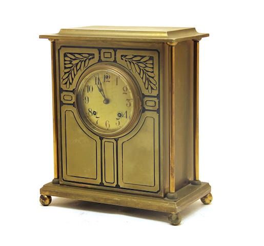 An American Arts and Crafts brass mantel clock first quarter 20th century