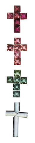 Group of Four Gemstone Cruciform Layouts