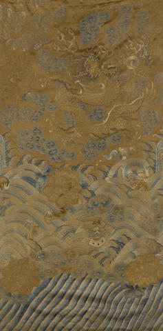 A pair of embroidered silk fragments from a dragon robe 19th century
