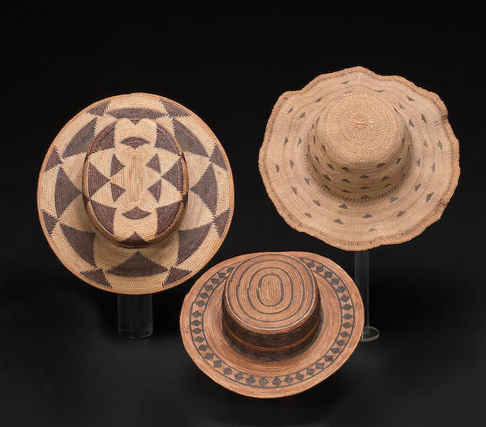 Three California basketry hats