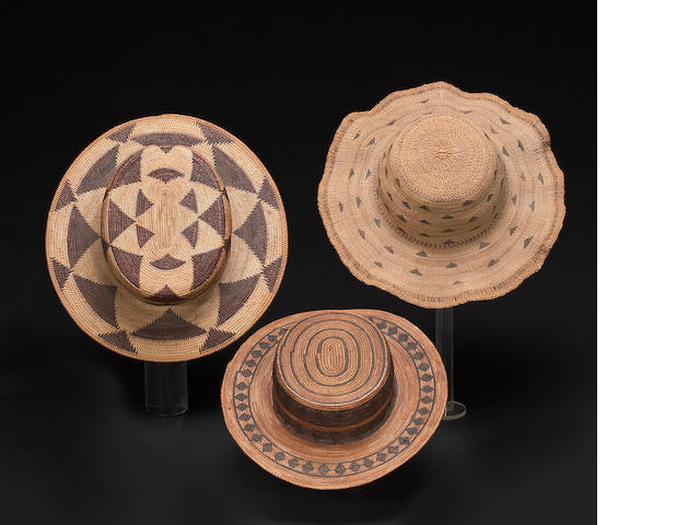 Three Modoc basketry hats