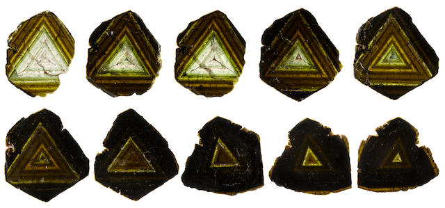 Rare Collection of Eleven Liddicoatite Tourmaline Slices