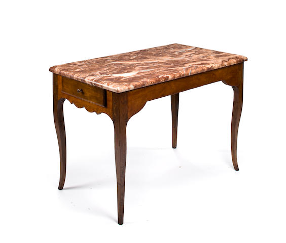 A Louis XV cherry and oak salon table
