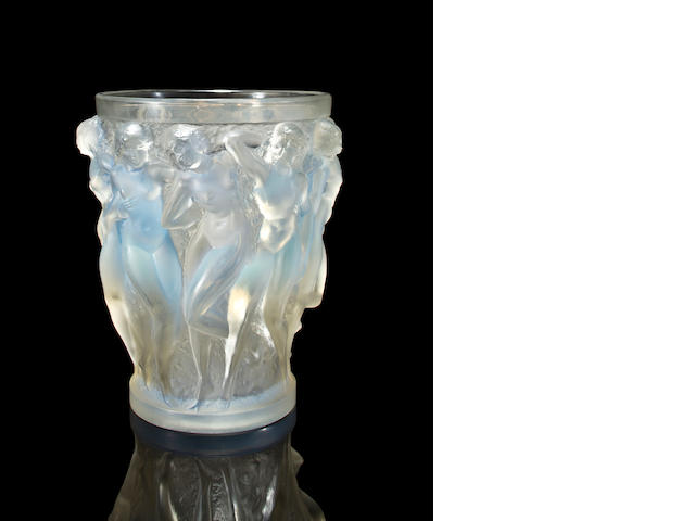 A René Lalique molded opalescent glass vase: Baccantes Marcilhac 997, model introduced 1927