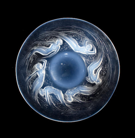 A René Lalique molded opalescent glass plate: Ondines (Marcilhac 3003), model introduced 1921