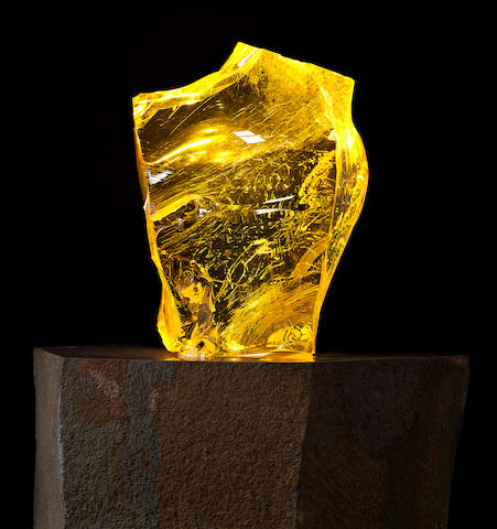 Historic Manhattan Project Glass – Sculptural Specimen on Lighted Column