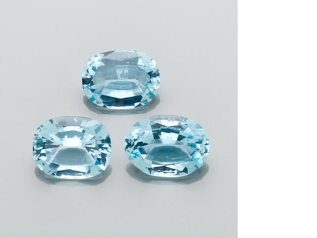Group of Three Blue Topazes