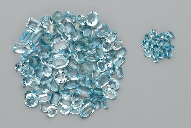 Large Miscellaneous Group of Aquamarines