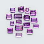 Large Group of Emerald Cut Amethysts