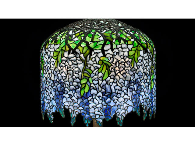 A Tiffany Studios Favrile glass and patinated-bronze Wisteria Lamp 1899-1918