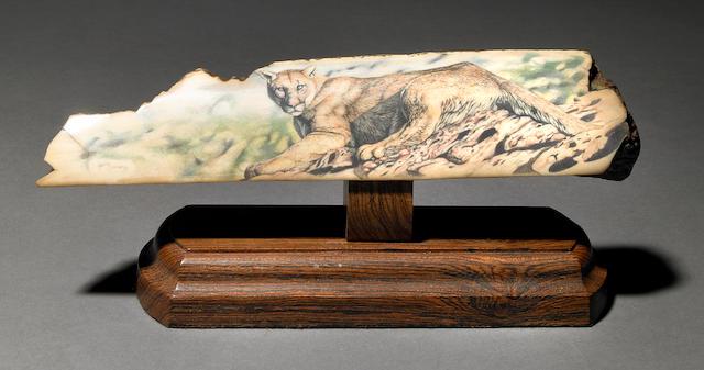 Scrimshaw Cougar on Fossil Walrus Ivory