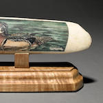 Scrimshaw Wood Duck on Fossil Ivory