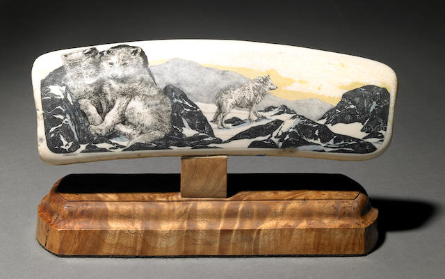 Scrimshaw Wolves on Fossil Walrus Ivory