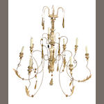A French Baroque style parcel giltwood and metal nine light chandelier