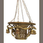 A Continental brass hanging lamp