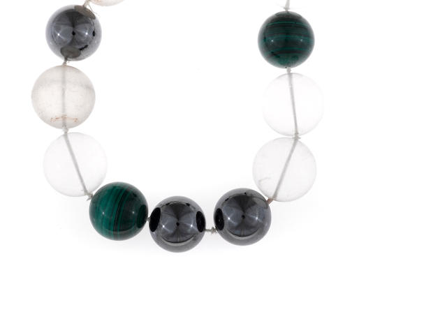 A rock crystal, hematite and malachite bead necklace, Paloma Picasso, Tiffany & Co.,