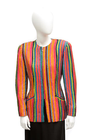 A Bob Mackie multi-colored striped beaded zip front silk jacket