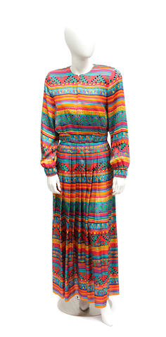 A Bob Mackie multi colored beaded silk jacket and pleated skirt
