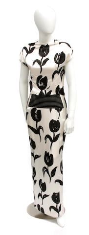 A Geoffrey Beene white and black floral design silk top and long skirt