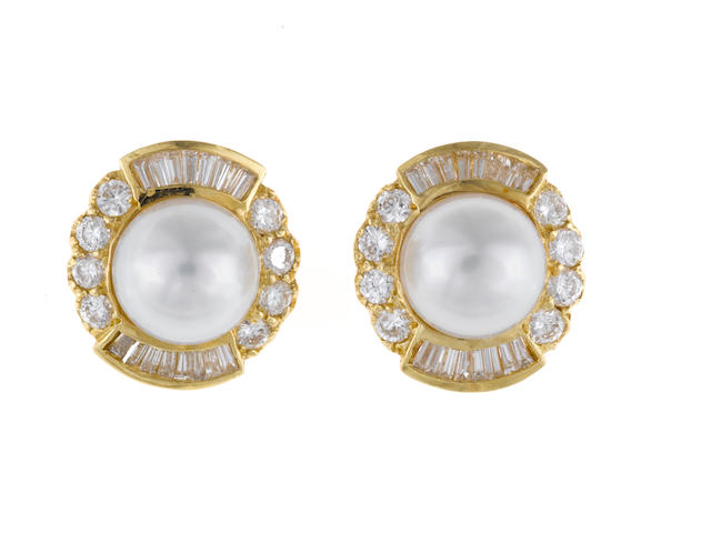 A pair of cultured pearl and diamond earrings, JB Star