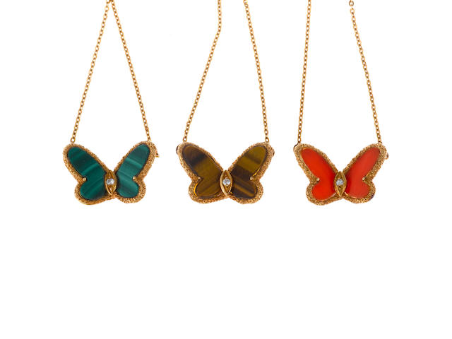 A collection of three hardstone and diamond butterfly pendant/necklaces, Van Cleef & Arpels