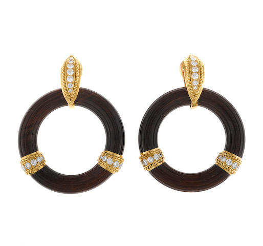 A pair of wood and diamond doorknocker earclips, Van Cleef & Arpels, French