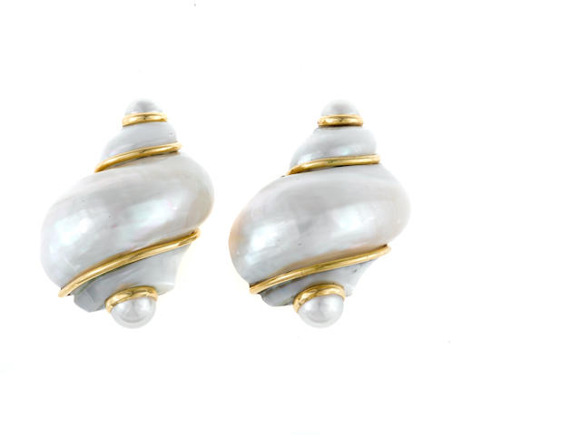 A pair of shell and cultured half-pearl earrings, Seaman Schepps