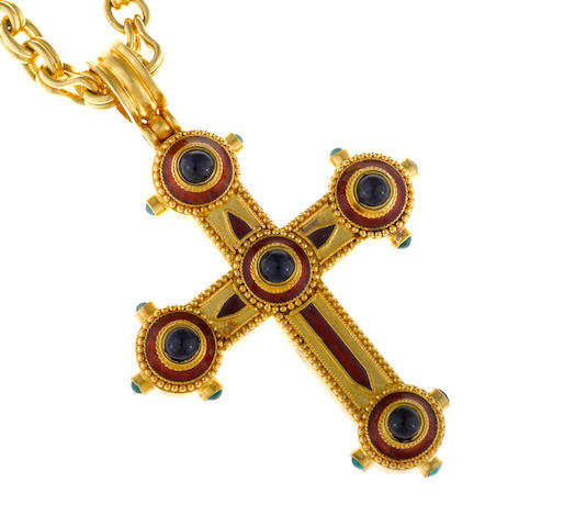 A sapphire, emerald, enamel and twenty-two karat gold cruciform pendant with chain