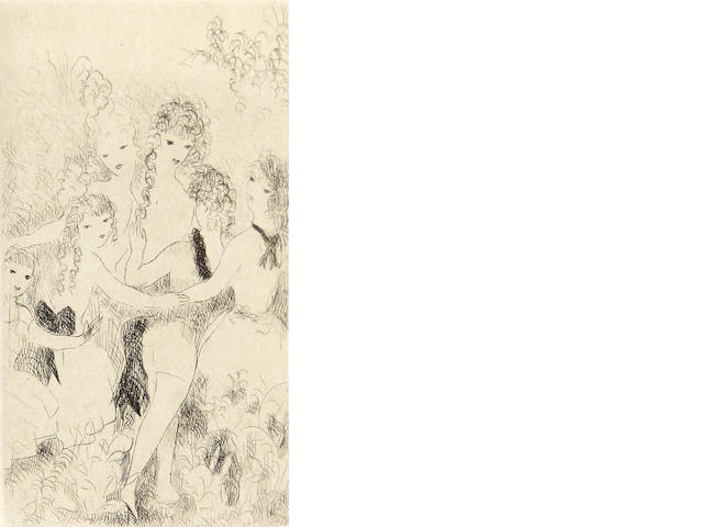 Marie Laurencin, Jeune Filles, Edition 64/150, Etching, Plate 5 x 3 ¼ inches, Sheet 7 ½ x 6 inches;