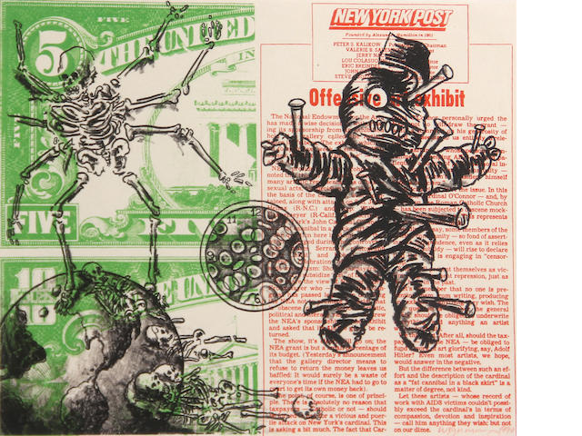 David Wojnarowicz (American, 1954-1992); Untitled (Voodoo Doll and Spider);