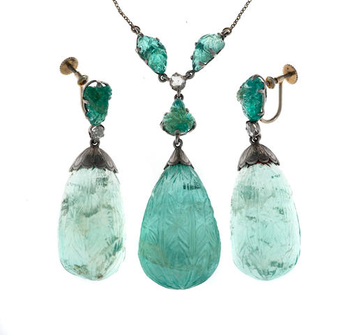 A carved emerald and diamond necklace together with matching screwback earrings