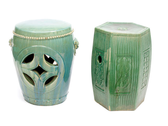 A group of two Chinese turquoise blue glazed garden seats