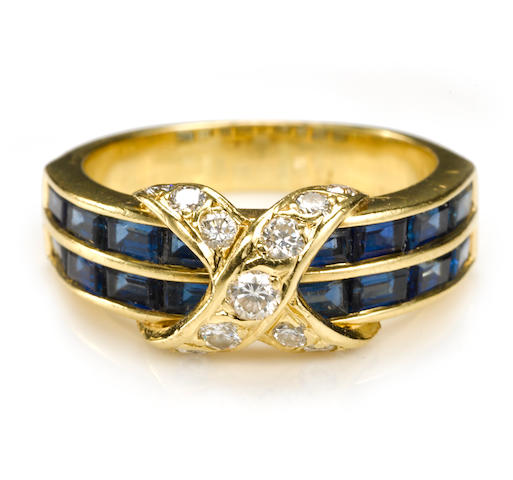 "A sapphire and diamond ""x"" motif ring, Tiffany & Co."