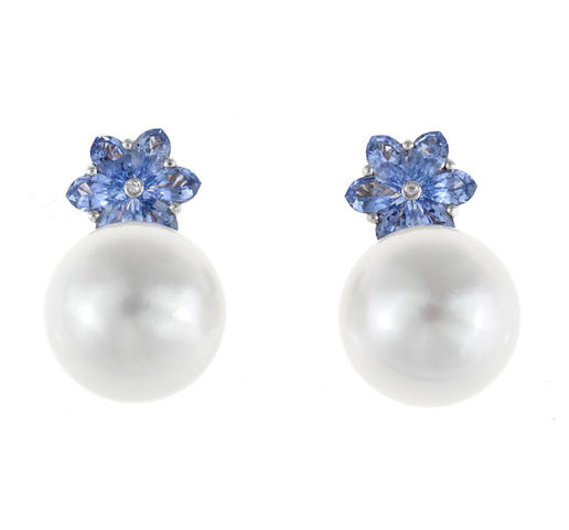 A pair of South Sea cultured pearl, sapphire and diamond earrings