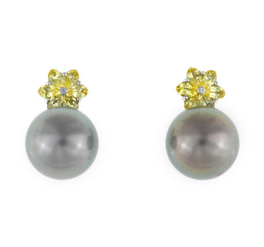 A pair of colored South Sea cultured pearl, yellow sapphire and diamond earrings