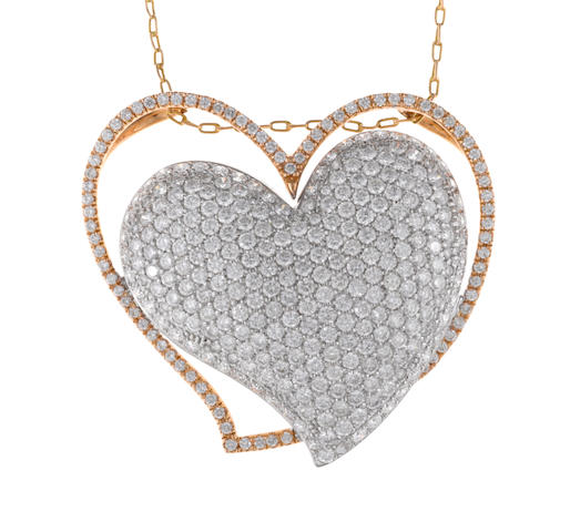 A diamond double-heart motif pendant, Sonia B, with chain, Russian