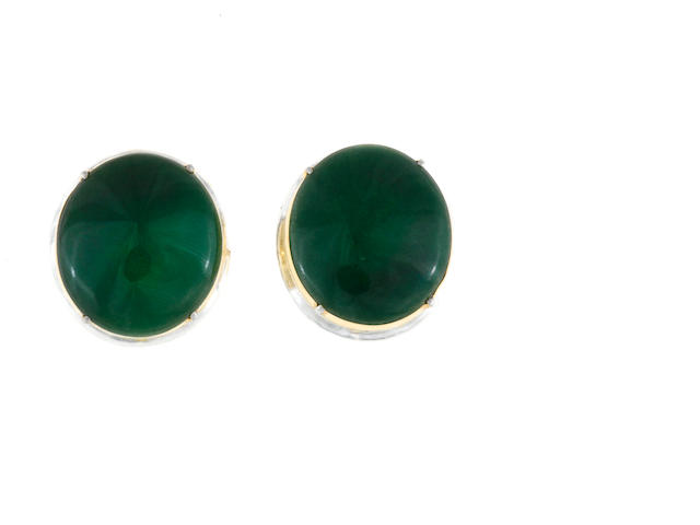 A pair of jadeite jade earrings