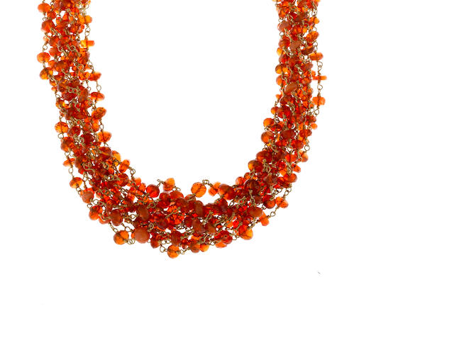 A fire opal bead torsade necklace