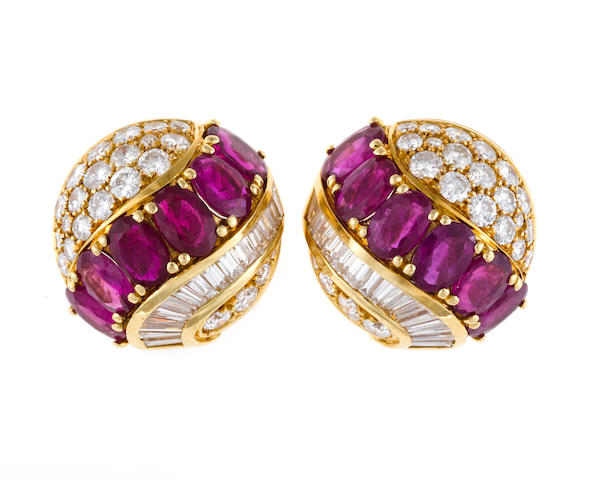 A pair of ruby and diamond earclips, Chantecler, Capri
