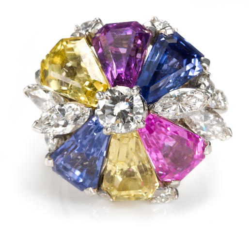 A multi-color sapphire and diamond ring,