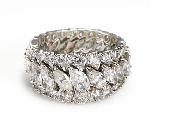 A diamond three-row eternity band