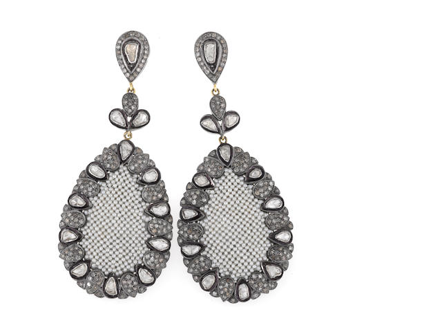 A pair of diamond and seed pearl pendant earrings